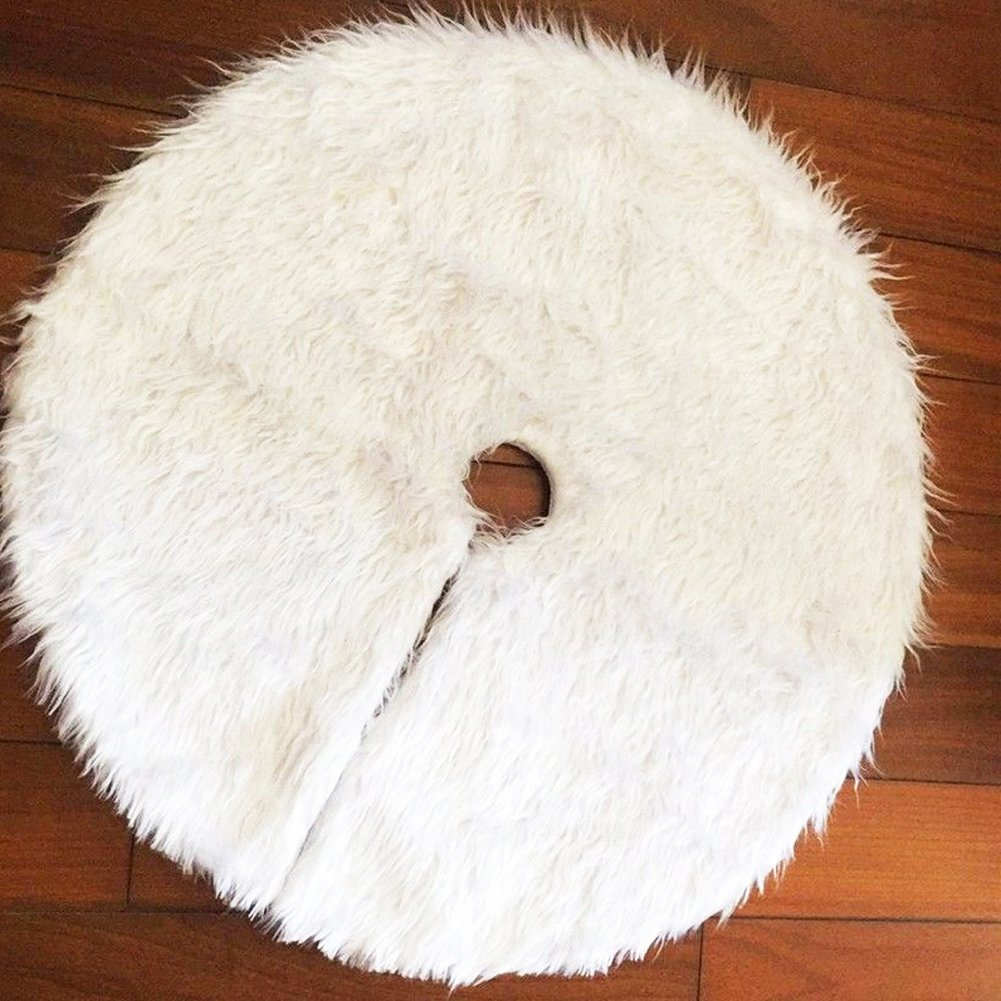 CHICHIC 35.4'' Christmas Tree Skirt Holiday Pure White Plush Faux Fur Tree Ornaments Xmas Holiday Tree Decoration for Holiday Christmas Decoration