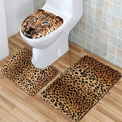 Amazon.com: PB-GRAP 3Pcs/Set Leopard Flannel Texture Bath Mat Rug ...