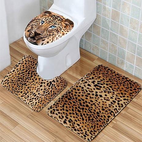Amazoncom PBGRAP PcsSet Leopard Flannel Texture Bath Mat Rug - Machine washable bathroom carpet for bathroom decor ideas