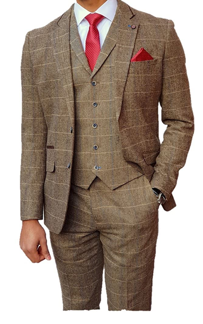 Retro Clothing for Men | Vintage Men's Fashion Mens 3 Piece Tweed Peaky Blinders Style Tan Brown Check Suit £139.99 AT vintagedancer.com