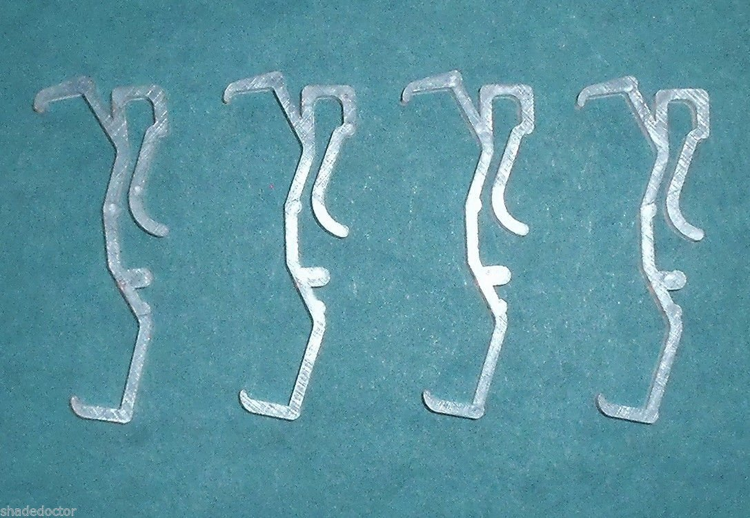 THREE PAIR 1 Single Slat WHITE VALANCE RETAINER CLIPS for Wood or Mini BLINDS