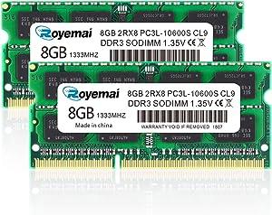 DDR3 RAM 8GB, DDR3 1333, PC3-10600, ROYEMAI DDR3 16GB Kit (2X8GB) PC3L-10600S 8GB DDR3L-1333 sodimm 2Rx8 1.35V/1.5V CL11 Notebook RAM Memory for Laptop Computer