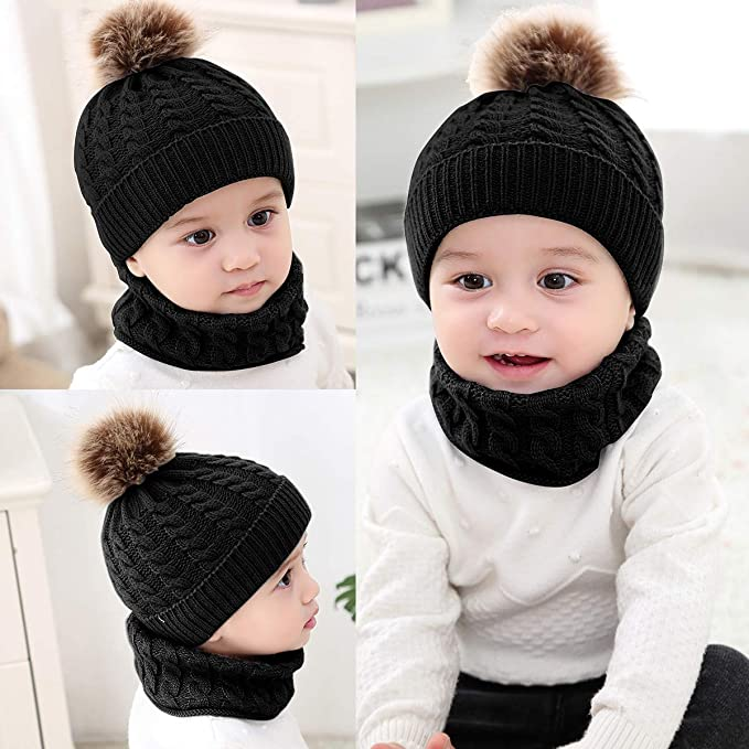 Lumsinker Baby Knitted Hats Scarf Set Toddler Neckwarmer Beanie Cap