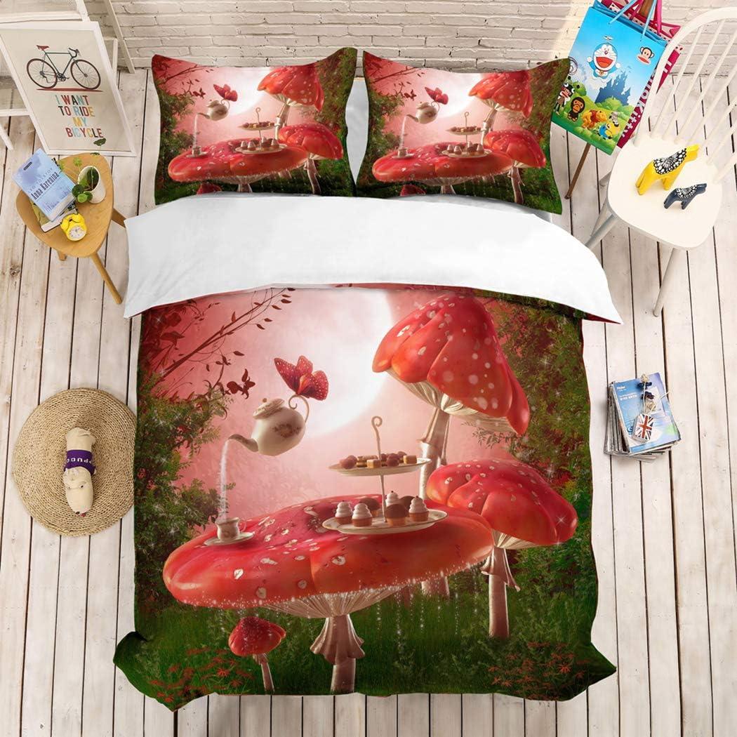 HoYoo Cartoon Fairy Tale Story Forest Flower Halloween Christmas Pumpkin Animal Printing Bedding Linen Bed Clothes Set Childrens Girls Bed Duvet Cover Set 3-Piece Queen King (#11,Twin /172218cm)