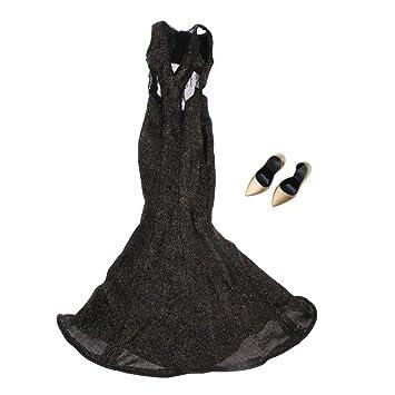 Sharplace 1:6 Escala Vestido Formal + Zapatos de Moda para 12inchs Cuerpos de Figuras de Acción Femeninas - Plata m5Y69IFZ