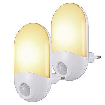 Nachtlicht Steckdose,LED Nachtlicht Baby mit Bewegungsmelder und D/ämmerungssensor Steckdosenlicht f/ür Kinderzimmer Gang Schlafzimmer Badezimmer 2 St/ück