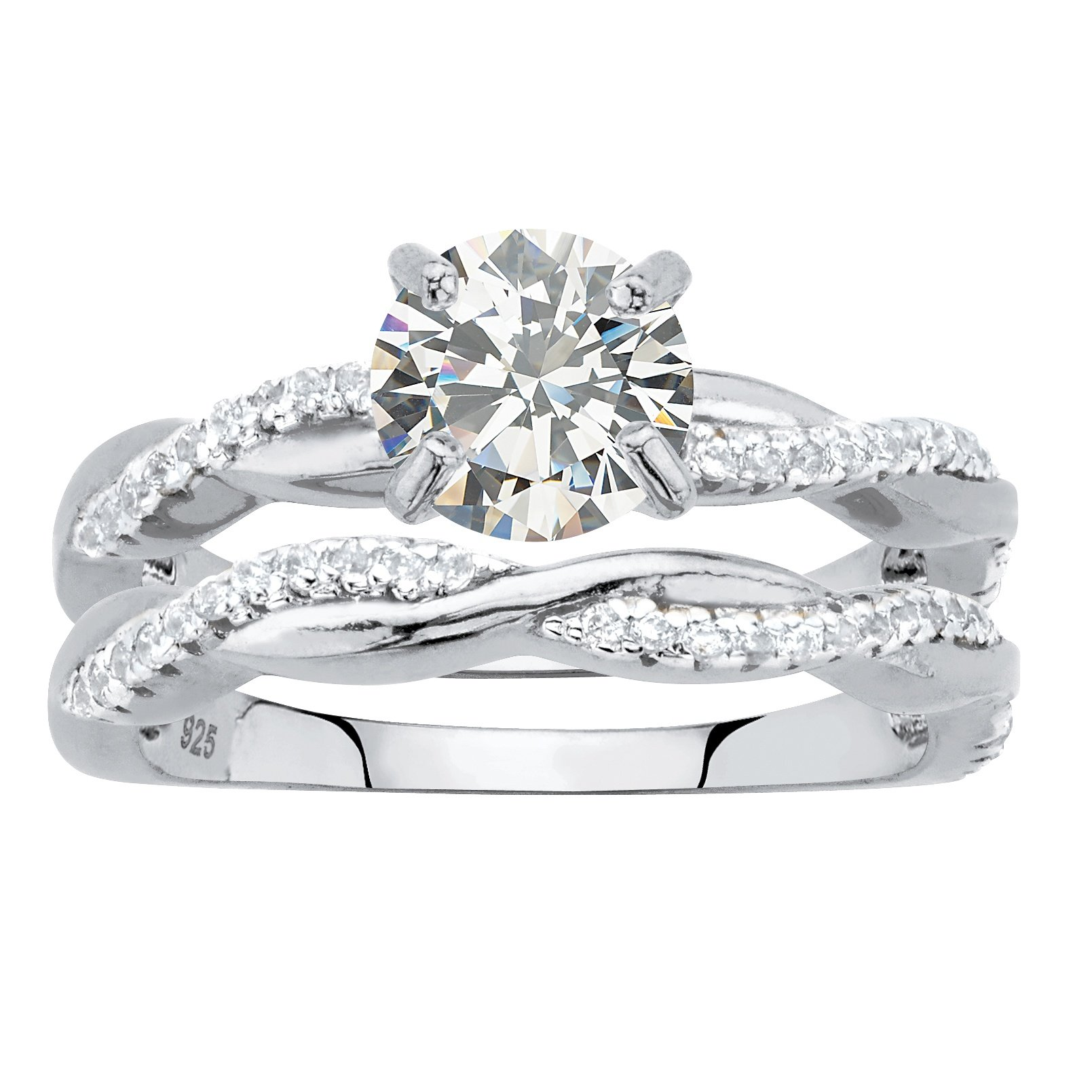 .925 Sterling Silver Round Cubic Zirconia 2 Piece Twisted Vine Wedding Ring Set Size 6