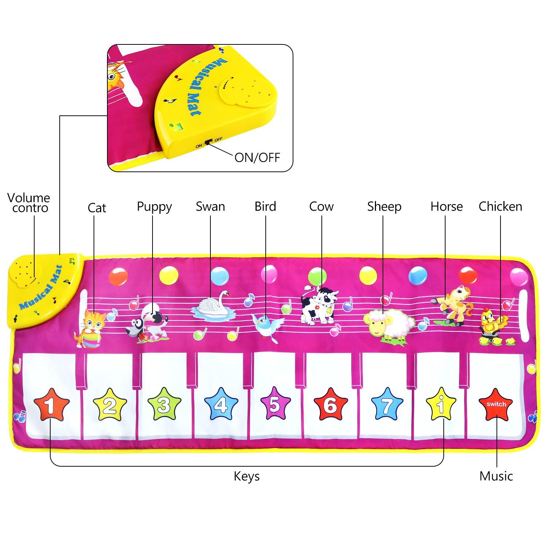 Tapis Musical Jouets Tapis Moquette Tapis de piano Instrument de musique jouet Touch Play clavier Gym Tapis de jeu pour enfants