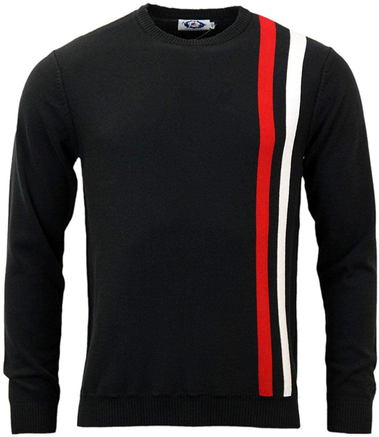 1960s – 70s Mens Shirts- Disco Shirts, Hippie Shirts  60s Mod Racing Jumper with Twin Stripes Madcap England Mens Retro £34.99 AT vintagedancer.com