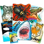 Know-It-All Educational Nature Books for Kids Toddlers -- Set of 6 Books About Wild Animals (Dinosaurs, Spiders, Wolves, Sharks, Wild Cats and Crocodiles)
