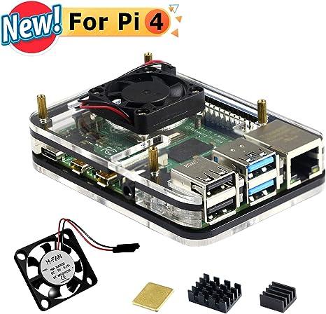 Jun_Electronic - Carcasa de acrílico para Raspberry Pi 4 Modelo B con Ventilador, disipador de Calor: Amazon.es ...