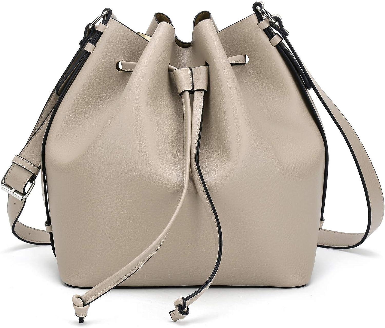 Details about  /Fashion Bucket Shoulder Bag Drawstring Crossbody Purse Leather Handbag Women