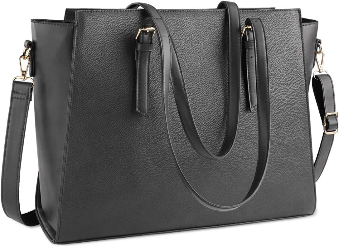 Laptop Bag for Women 15.6 Inch Waterproof Laptop Tote Bag Large Leather Computer Briefcase Womens Business Professional Office Work Bag Lightweight Shoulder Handbag,Grey