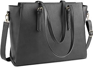 Laptop Bag for Women 15.6 Inch Waterproof Laptop Tote Bag Large Leather Computer Briefcase Womens Business Professional Office Work Bag Lightweight Shoulder Handbag,Grey