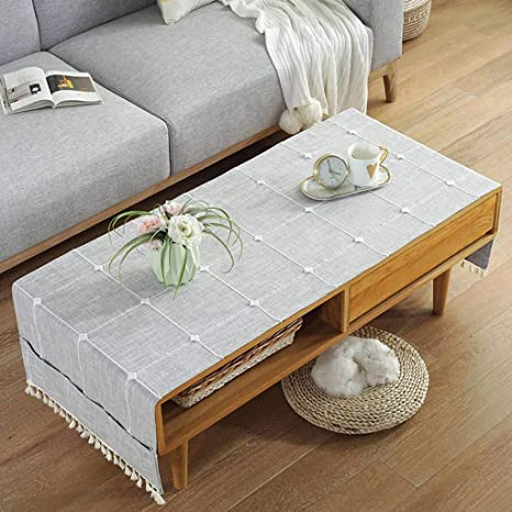 Amazon Com Coffee Table Tablecloth Modern Simple Table Cover Cotton Linen Rectangular Tablecloth Durable With Side Storage Bag For Tv Cabinet Living Room Table Cloth D 50x145cm 20x57inch Home Kitchen