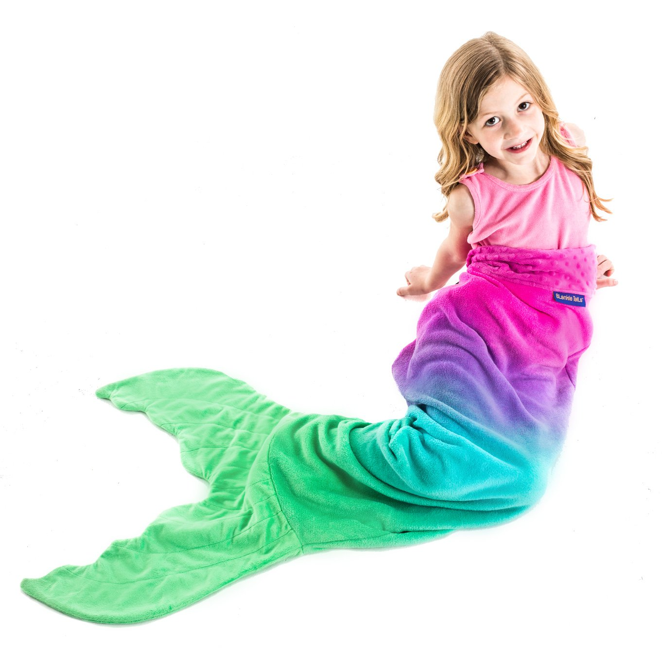 The Original Blankie Tails Mermaid Tail Blanket (Youth Size), Ocean Blue/Aqua BT0001.1