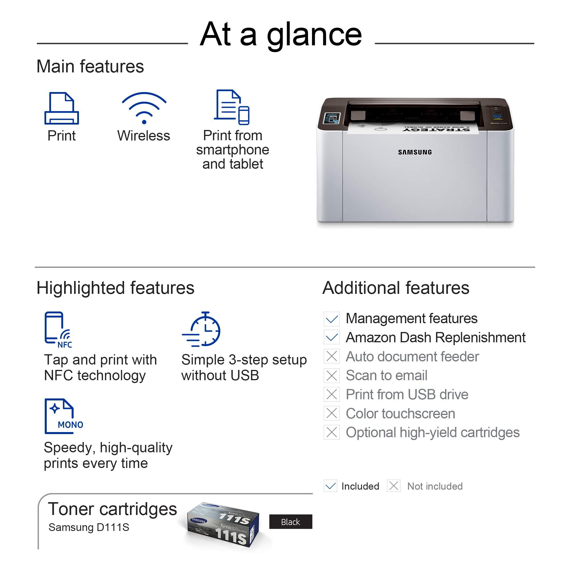 Samsung Xpress M2020W Wireless Monochrome Laser Printer with Simple NFC + WiFi Connectivity (SS272H) (Renewed) by HP (Image #6)