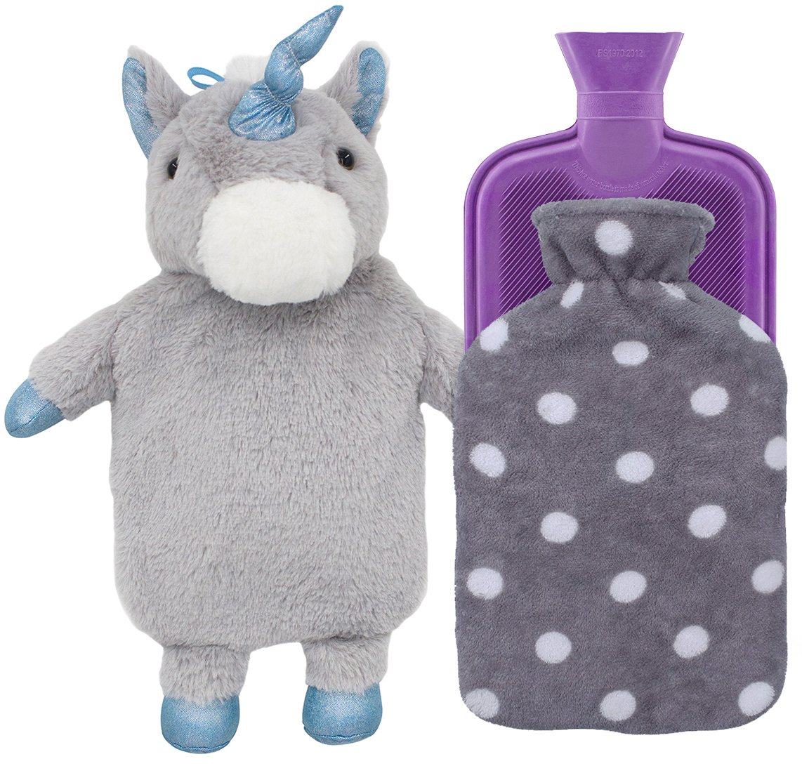 HomeTop Premium Classic Rubber Hot Water Bottle with Cute Unicorn Cover and Soft Fleece Cover (Gray Unicorn + Gray Polka Dot/Purple) by HomeTop