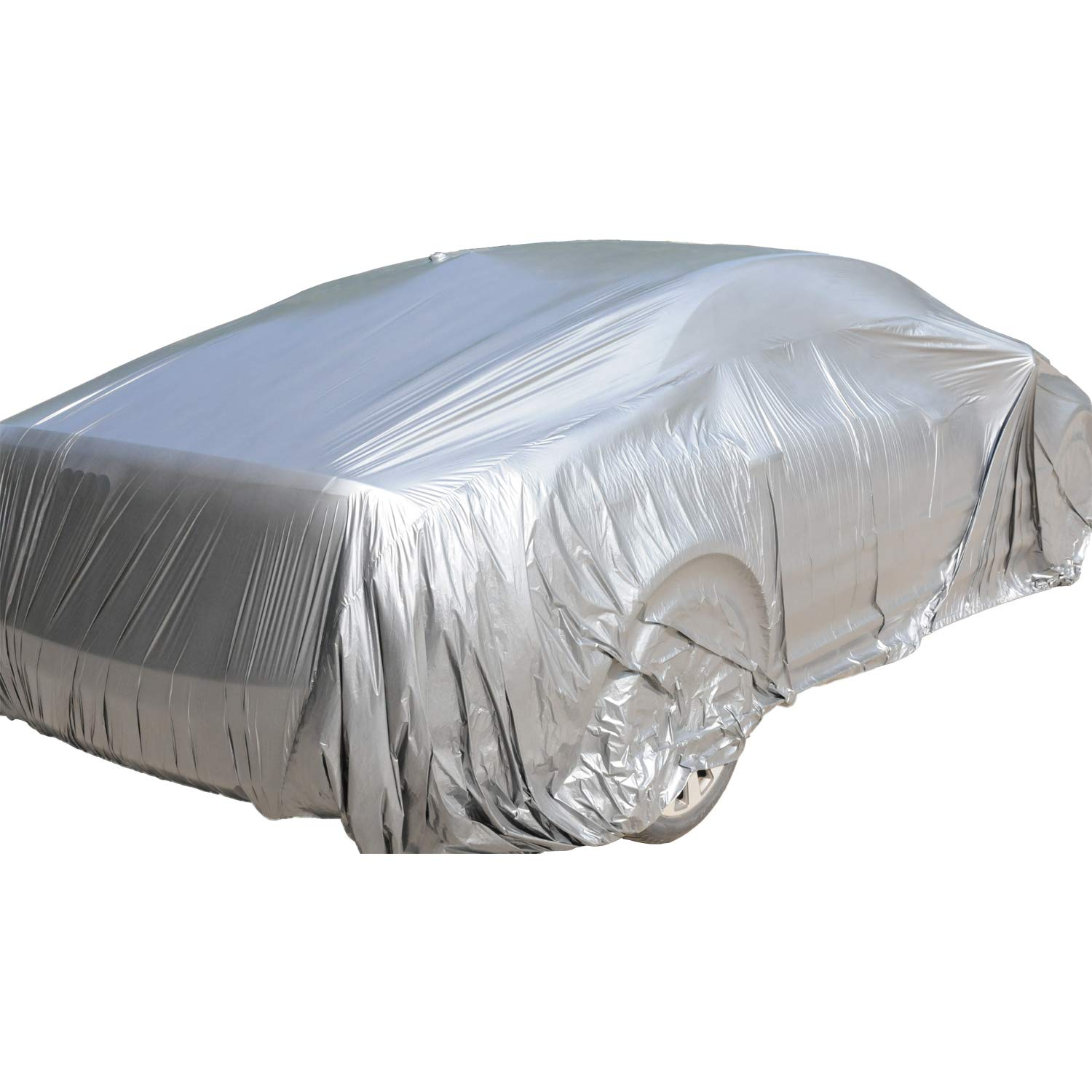 TopSoon Universal Plastic Car Cover with Elastic Band Waterproof Sliver PE Disposable Car Cover Medium Size 12-Feet by 22-Feet