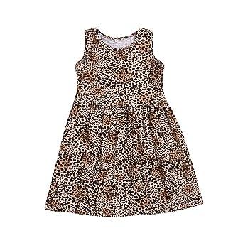 TIFIY Mädchen Ärmellose Kleider Leopard Drucken Kleid Sommer Kleinkind Elegant Blumenskleid
