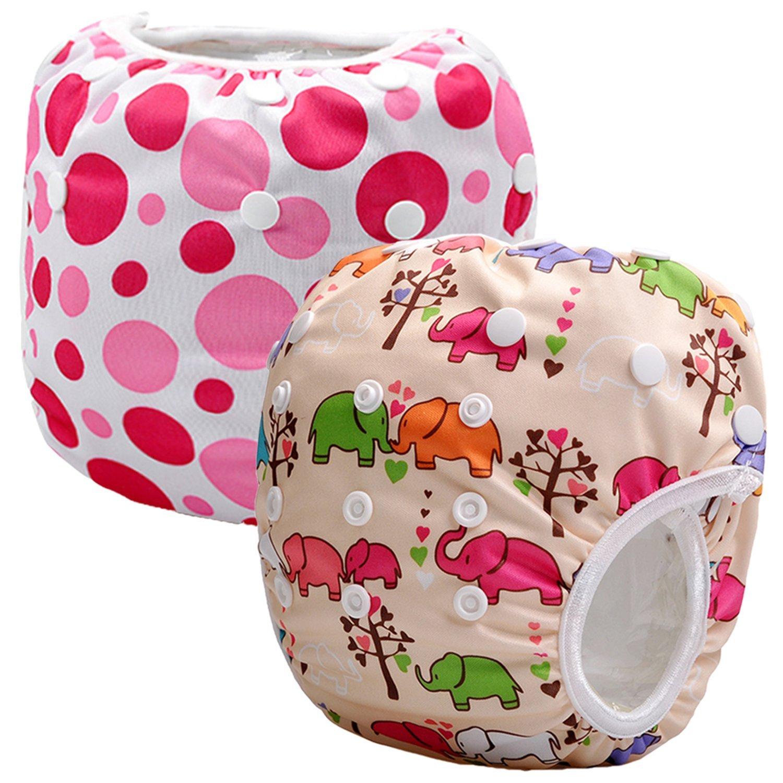 Storeofbaby Pannolini da nuoto riutilizzabili Pannolini Pantaloni pannolini per ragazze dei ragazzi 0-3 anni Confezione da 2