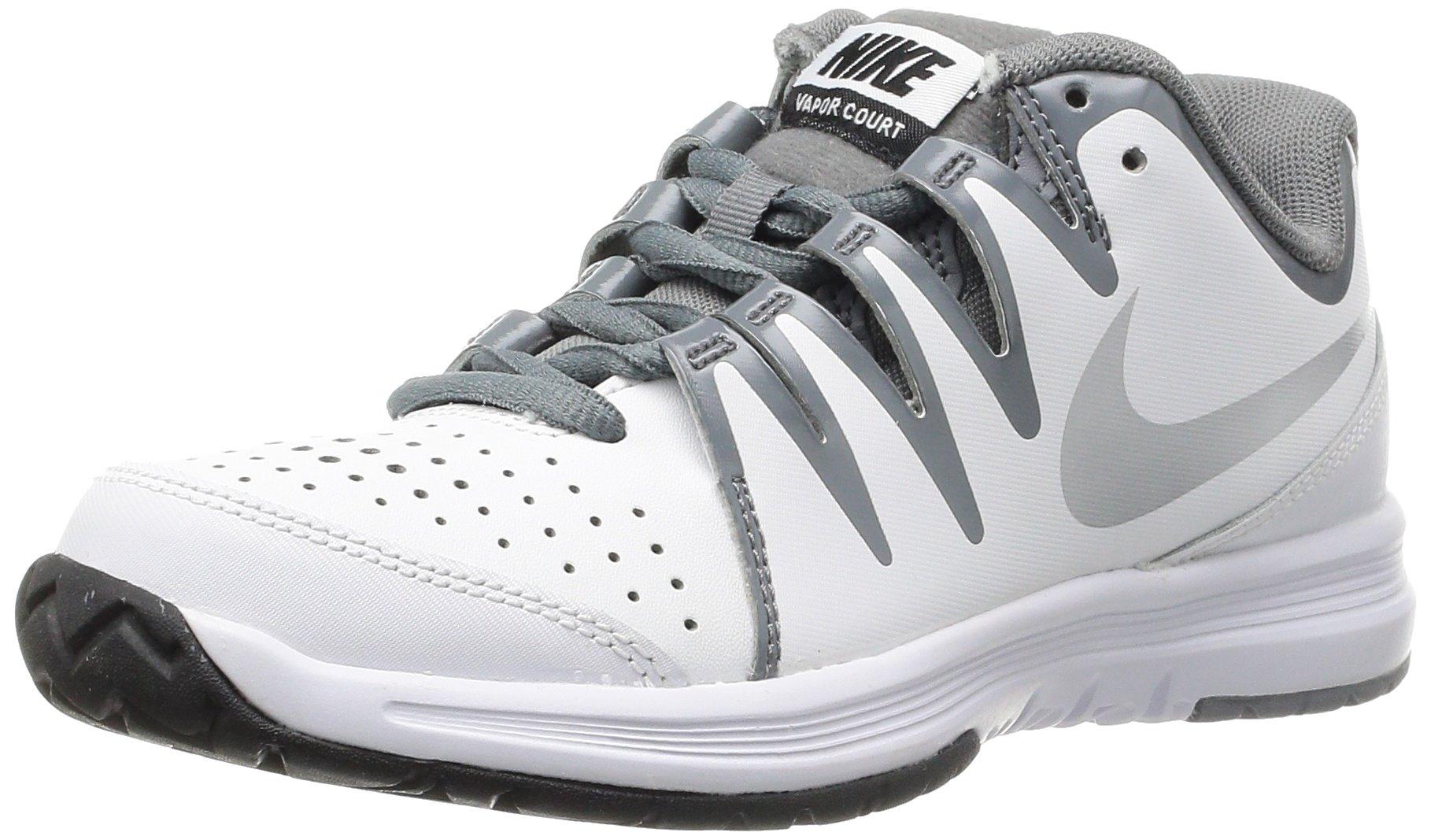 nike vapor court womens tennis shoes 631713 sneakers trainers (US 10.5, white metallic silver 100)