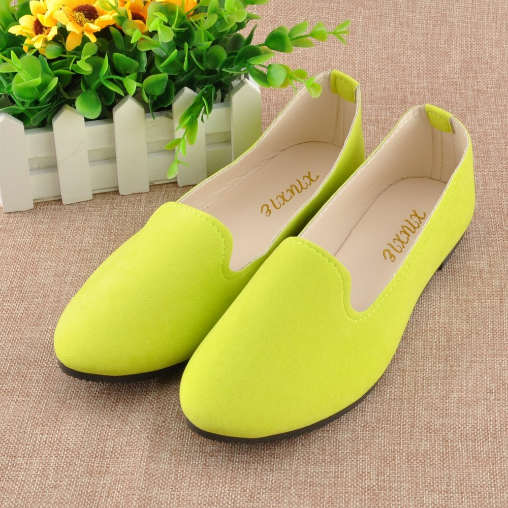 JOY DRAGON Women Ballet Light Faux Suede Low Heels Flats Candy Color Spring Summer Loafers Shoes Size 5-8 B07BHM8B9S 5.5 B(M) US Yellow
