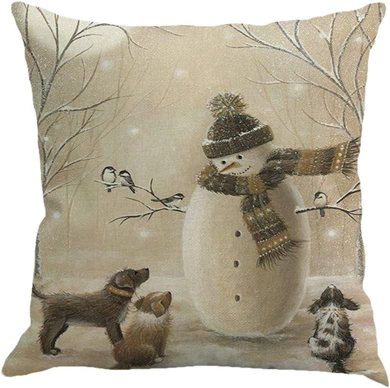 Zcuhen Pillowcases Standard Pillowcases King Size Pillowcases Size Throw Pillow Cover Elk Child Christmas Series Cushion Cover Case Pillow Custom Zippered Square Pillowcase(Christmas Snowman)
