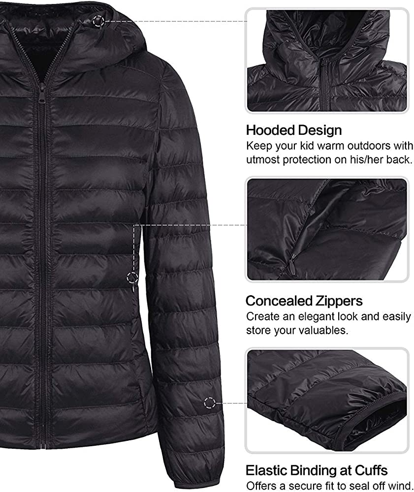 ZITY Womens Packable Down Jacket Ultralight Water Repellent Stand Collar Hooded Puffer Coat