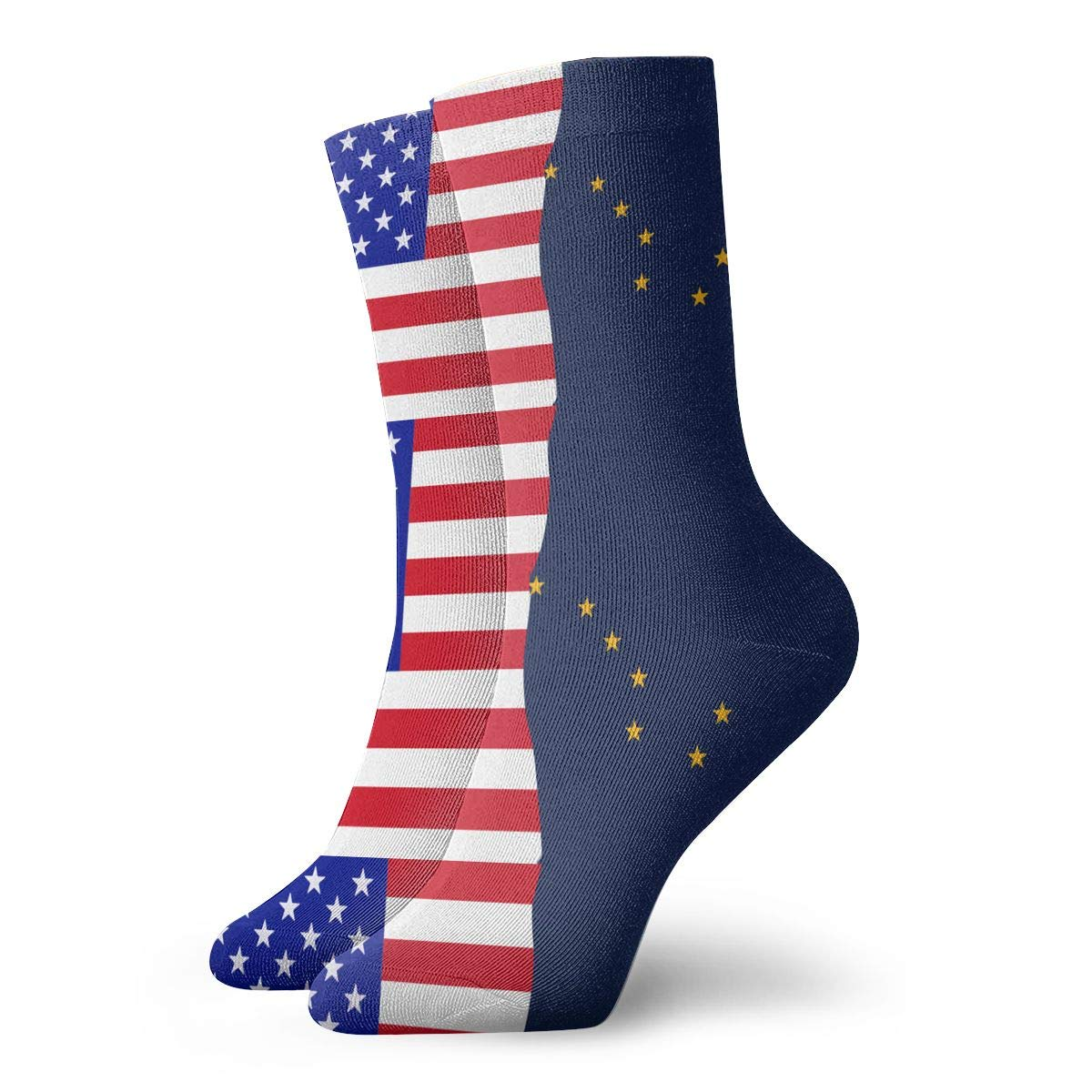 Adult Half USA Half Alaska Flag Cushion Crew Socks