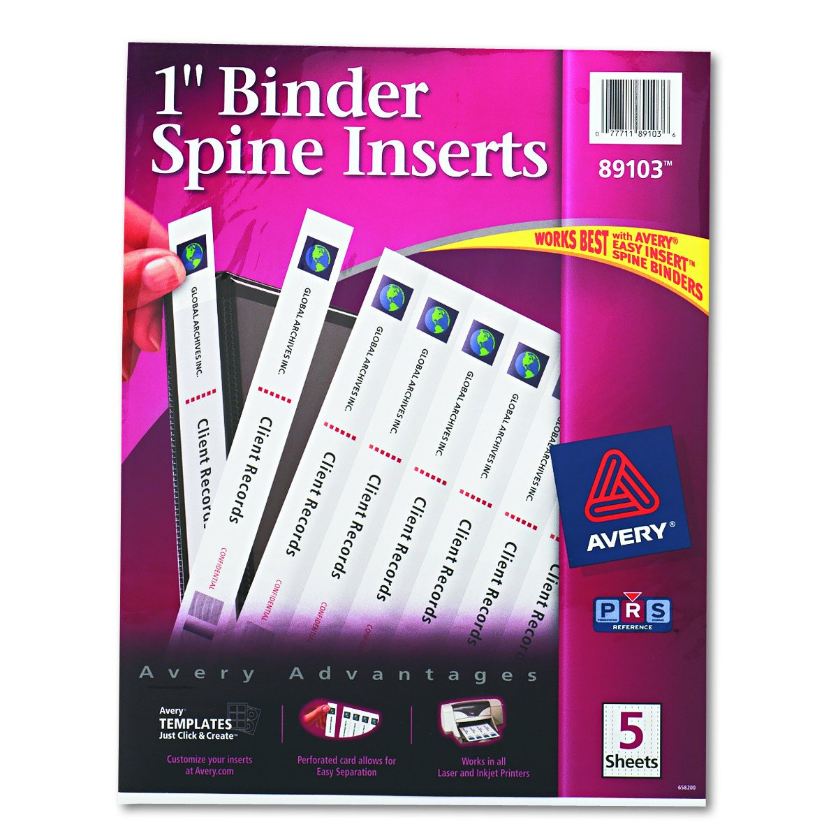 amazon com avery 89103 binder spine inserts 1 spine width 8