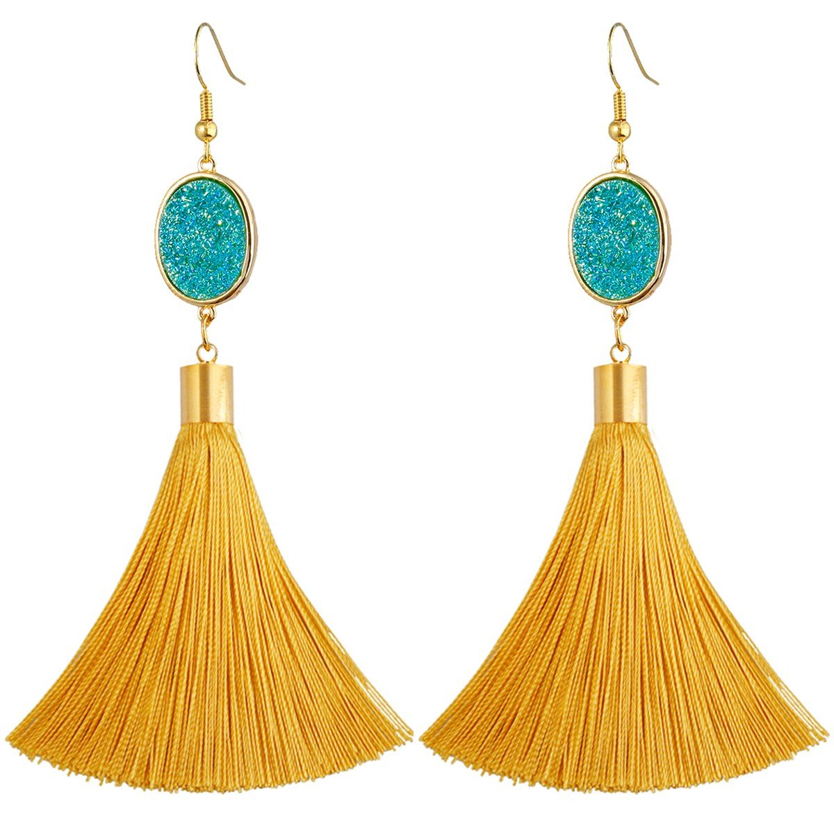 SUNYIK Bohemia Crystal Druzy Dangle Earrings for Women,with Thread Tassel,Oval Teal Blue
