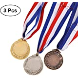 3PCS Metal Award Medals with Neck Ribbon Gold Silver Bronze Olympic Style for Sports Academics or Any Competition Diameter-5.1CM (Gold1 + Silver1 + Bronze1)