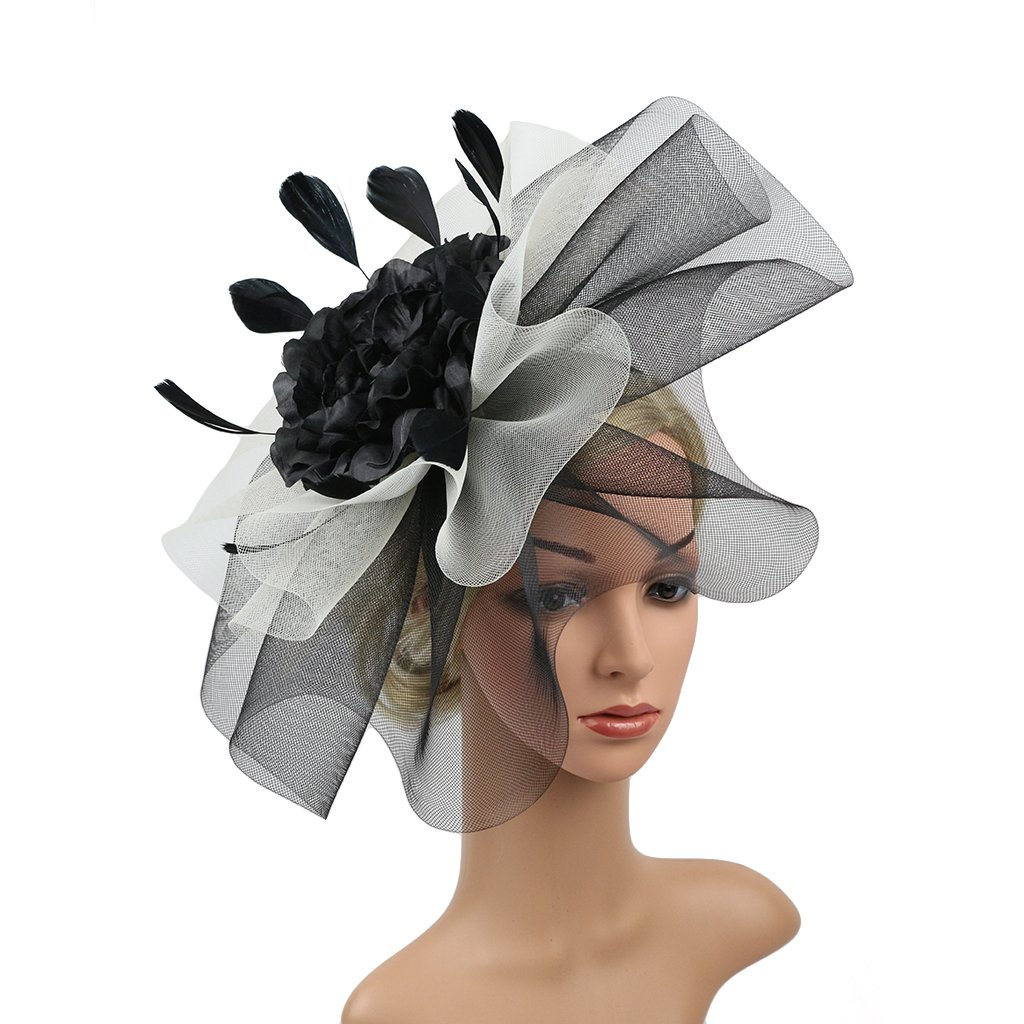 Merya Dress 2 Tone Cocktail Fascinators Kentucky Derby Fascinator Hats Tea Party Prom Fascinators Black-White-A
