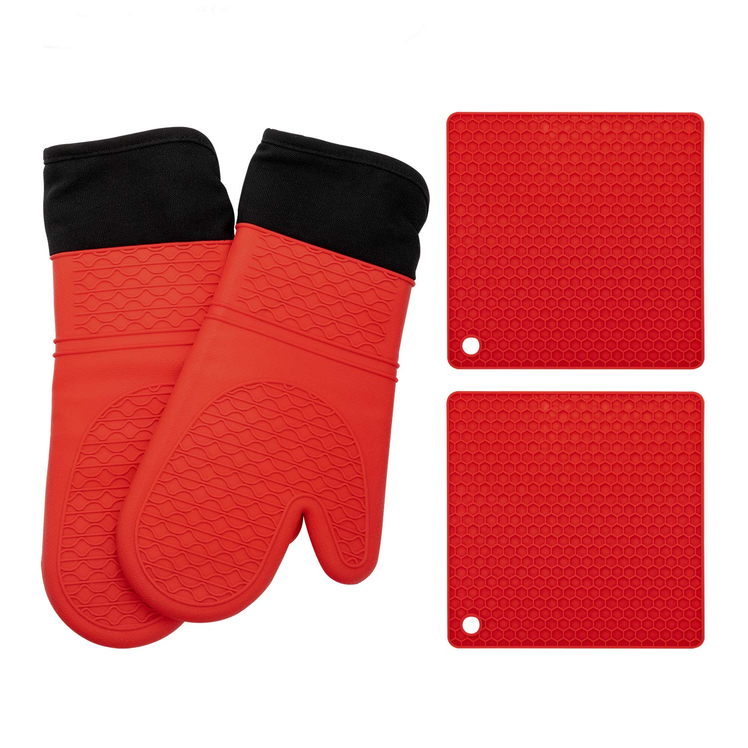 Elegant Life Silicone Oven Mitts, Oven Mitts and Potholders(4-Piece Sets),Kitchen Counter Safe Trivet Mats,Advanced Heat Resistant Oven Mitt, Non-Slip Textured Grip Pot Holders