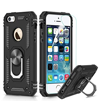 LeYi Funda iPhone SE/5S/5 Armor Carcasa con 360 Anillo iman Soporte Hard PC y Silicona TPU Bumper antigolpes Fundas Carcasas Case para movil iPhone ...