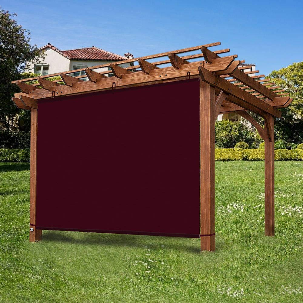 Ecover Waterproof Shade Panel Outdoor Sunscreen with Ropes for Pergola/Patio/Canopy, Wine Red, 6x10ft