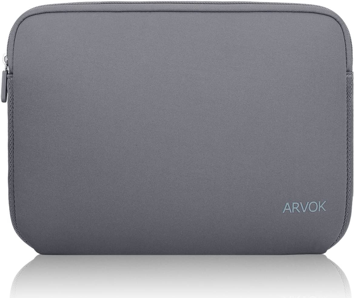 Arvok 13-14 Inch Laptop Sleeve Multi-Color & Size Choices Case/Water-Resistant Neoprene Notebook Computer Pocket Tablet Carrying Bag Cover, Grey