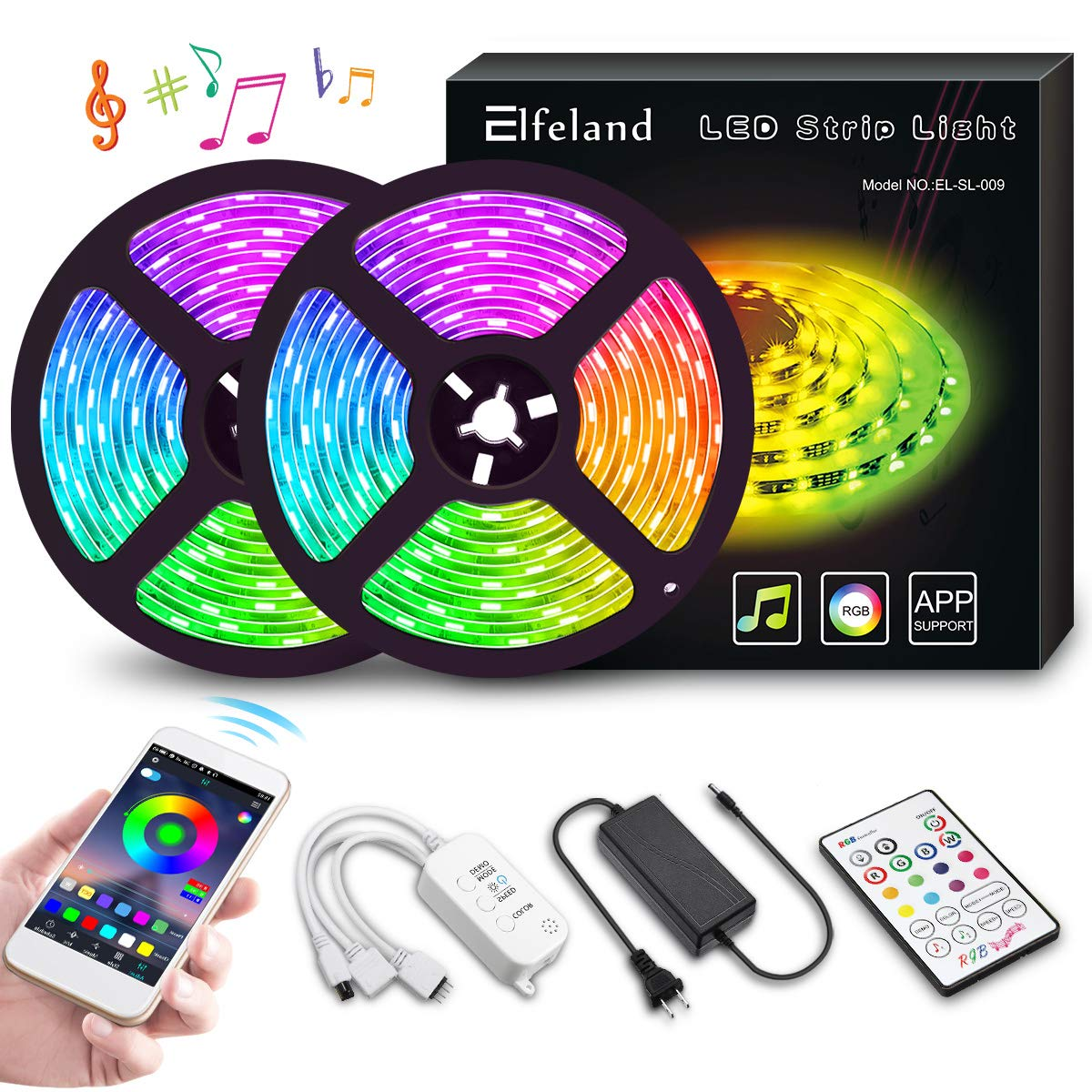 LED Strip Lights, Elfeland 10M 32.8ft 300 LEDs Color Changing Rope Lights 5050 RGB Light Strips with APP Waterproof Tape Lights Sync with Music Apply for Home Kitchen Decoration by Elfeland (Image #1)