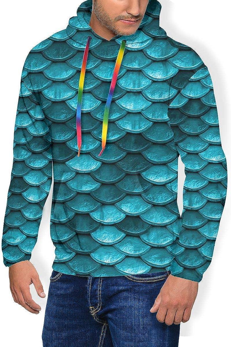 Sirena Escamas de Pescado Sudadera Azul de Manga Larga suéter de Invierno con Capucha Engrosada con Capucha para Hombres S-3XL