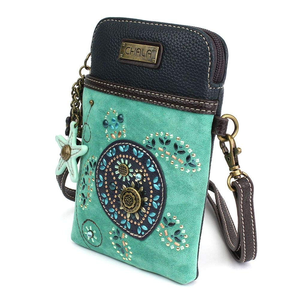Chala Crossbody Cell Phone Purse-Women Canvas Multicolor Handbag with Adjustable Strap (Turquoise) by CHALA (Image #2)