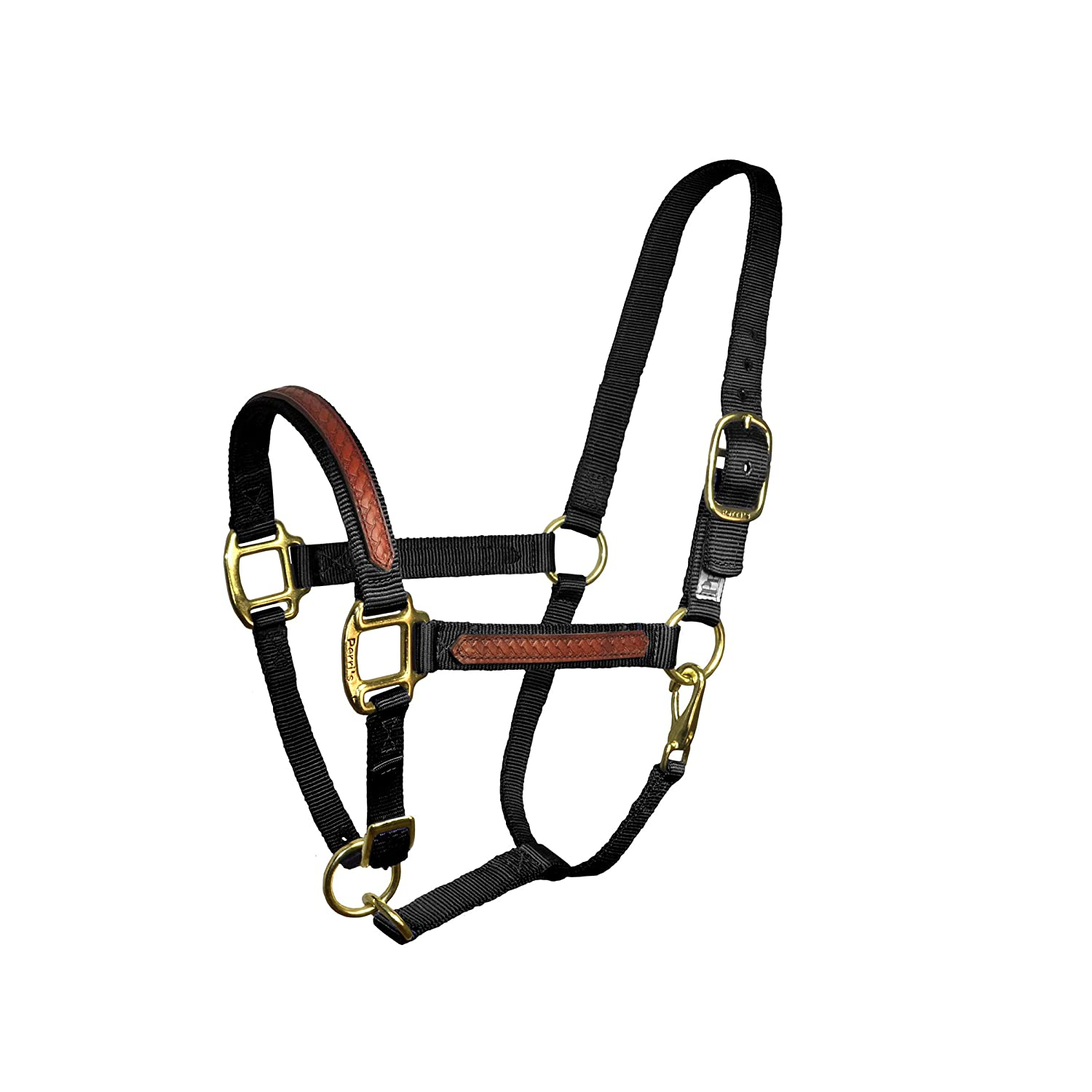 Perri's Cob Leather Overlay Halter With Safety Tab, Black Perri's Cob Leather Overlay Halter with Safety Tab