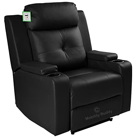 Swell Odeon Black Bonded Leather Electric Powered Recliner Cinema Evergreenethics Interior Chair Design Evergreenethicsorg