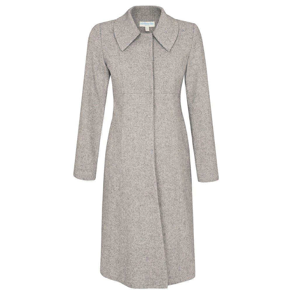 Grey Tweed Princess Line Maternity Coat