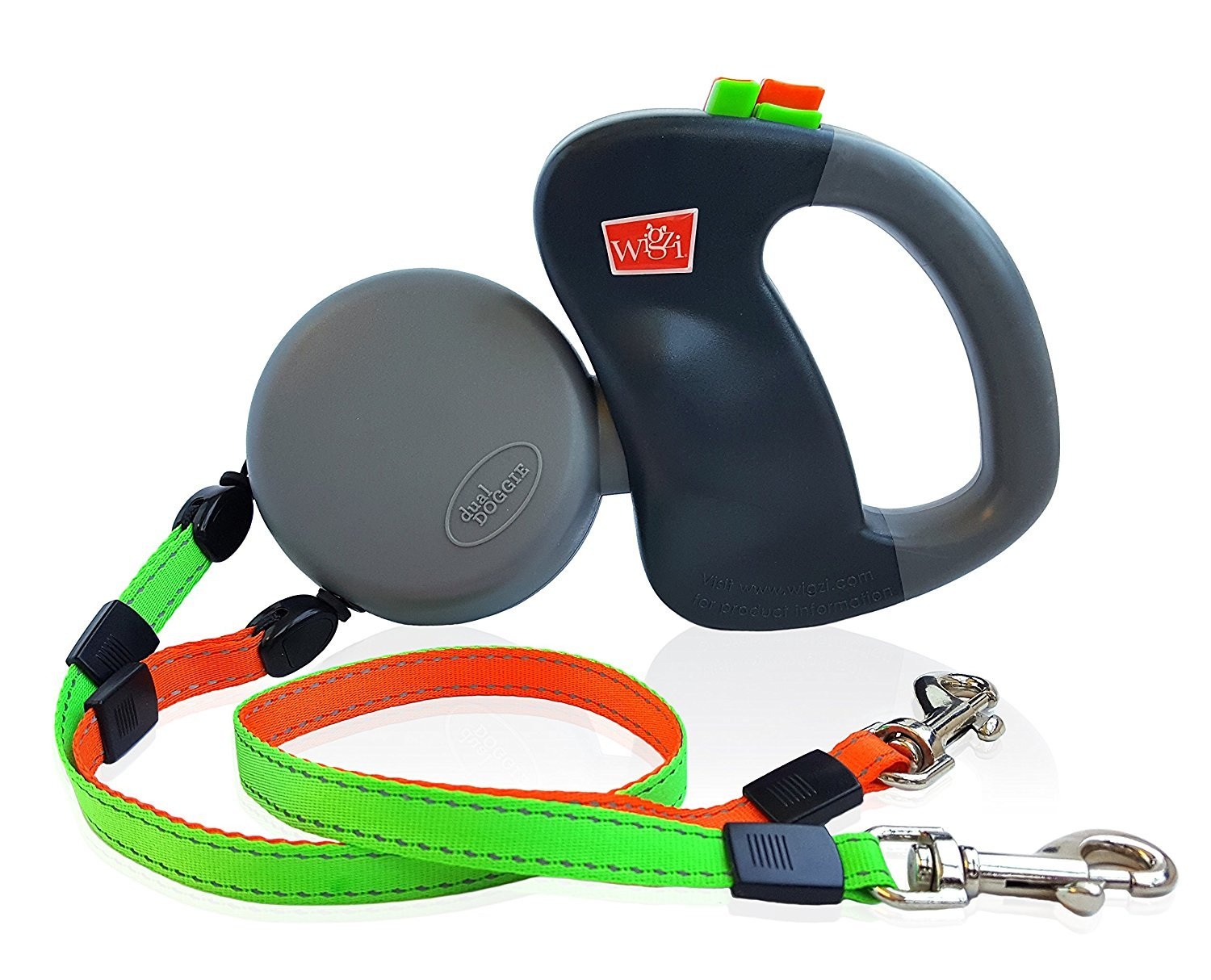 Dual Doggie Pet Leash - Up to 50 Lbs Per Dog and Zero Tangle - Walk Two Dogs At Once by WIGZI