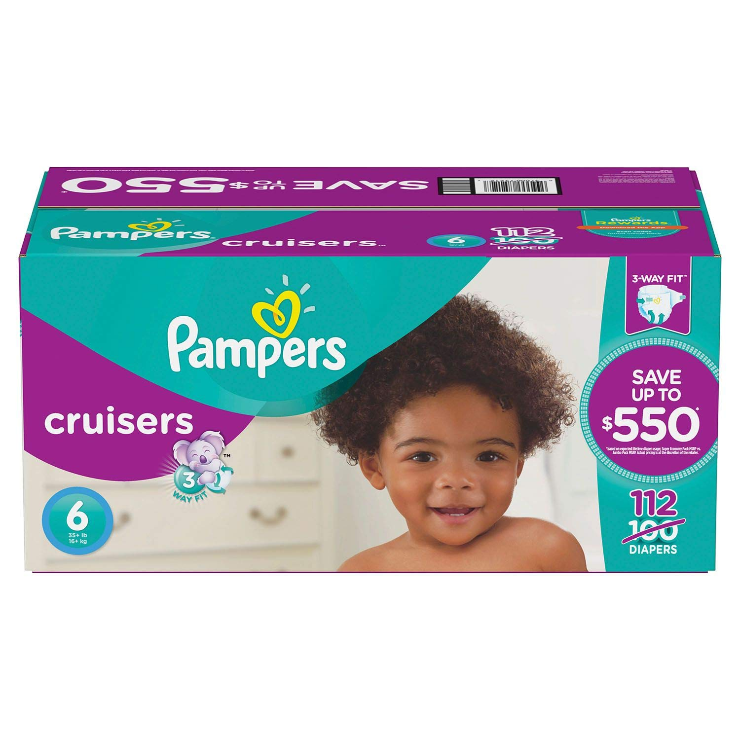 Pampers Cruisers Diapers Size 6 Economy Pack Plus, 112 Count