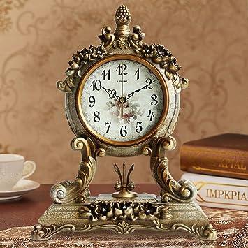 JU Reloj de Mesa Antiguo Reloj Europeo Sala de Estar silenciosa Reloj de cabecera Reloj Decorativo Creativo Reloj de oscilación Reloj Antiguo,BBB: ...