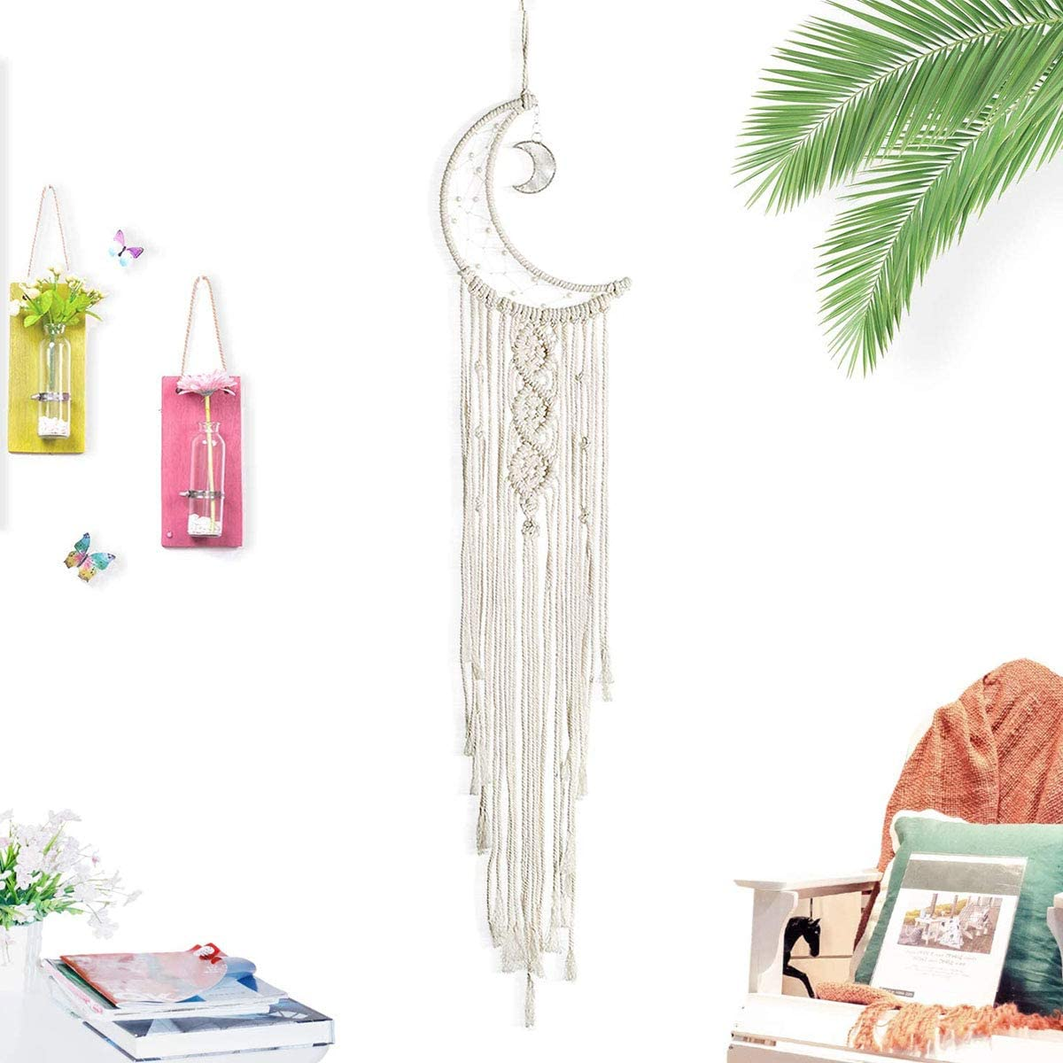 Hwceo Moon Dream Catcher for Teen Little Girls Room,Decoration Bedroom,Dorm Room Bedding,Beach Room, Wall Decor Hanging Boho Fabric Long Tapestry Dreamcatcher for Baby Shower,Birthday Decorate Beige