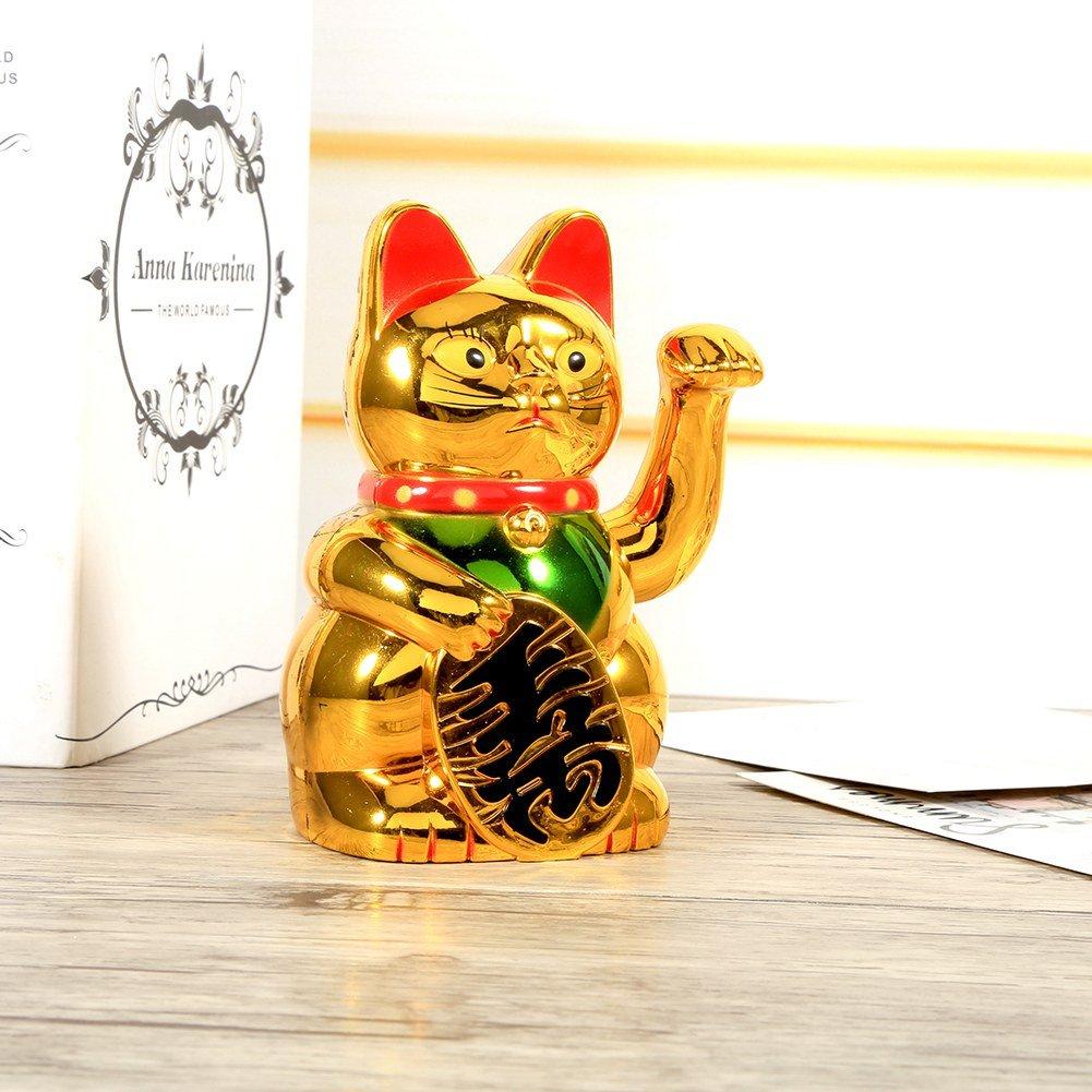 Wocume Large Gold Waving Hand Paw Up Riqueza Prosperidad Acogiendo con benepl/ácito Gato Buena Suerte Feng Shui Decoraci/ón