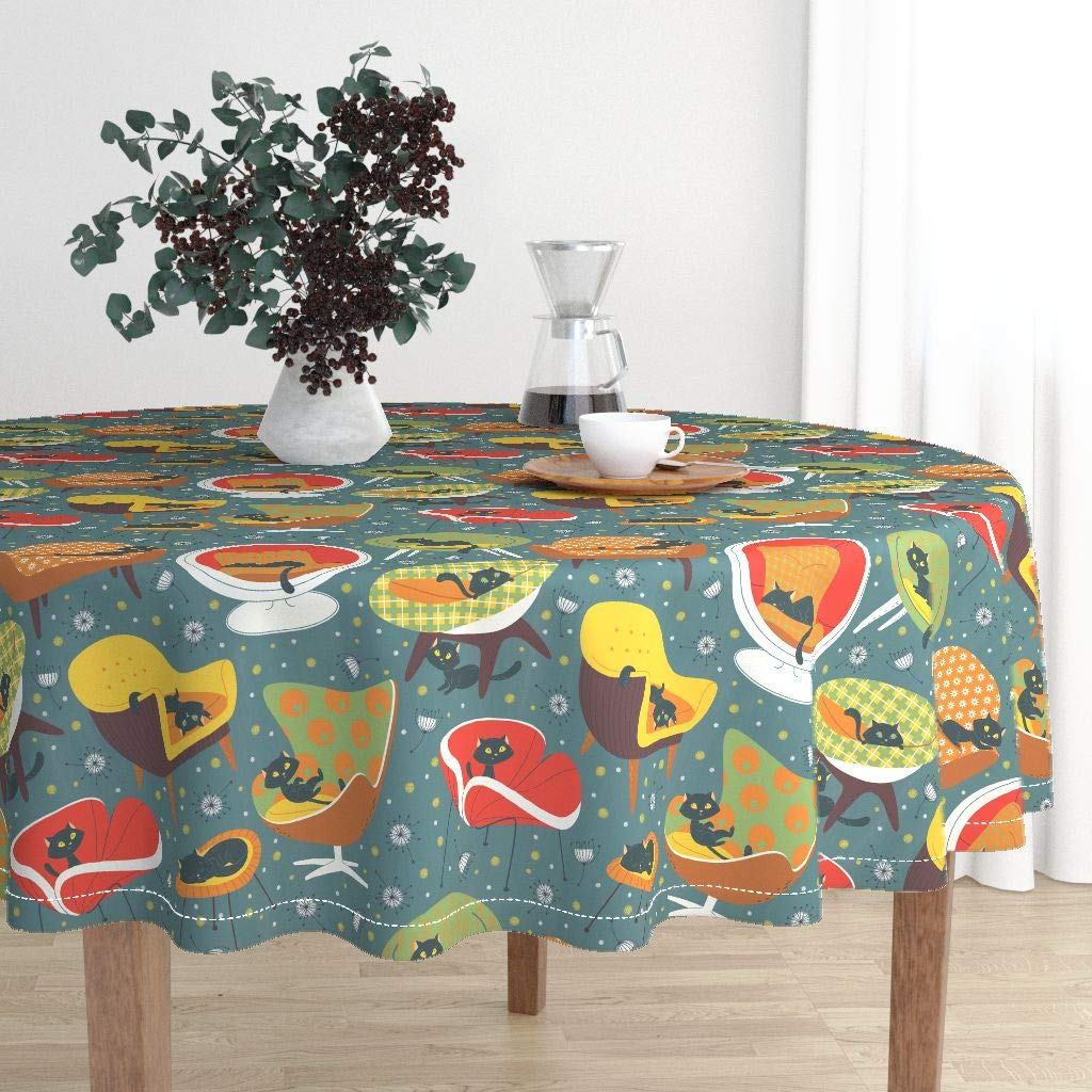 Round Tablecloth - 1960S Chairs Black Cat Vintage Sixties Forniture Design Sf1dc5era by Gnoppoletta - Cotton Sateen Tablecloth 70in